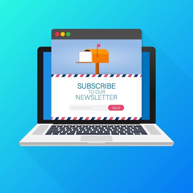 Suscripción por correo electrónico, plantilla de boletín en línea con el buzón de correo y botón de envío en la pantalla del portátil. Vector Premium
