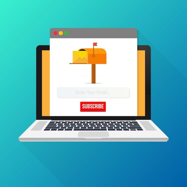 Suscripción por correo electrónico, plantilla de vector de boletín en línea con el buzón y botón de envío en la pantalla del portátil Vector Premium