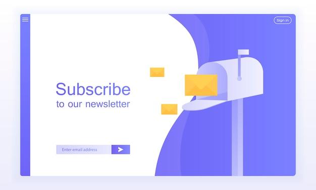 Suscripción por correo electrónico, plantilla de vector de boletín en línea con buzón y botón de envío para el sitio web. Vector Premium