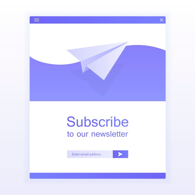 Suscripción por correo electrónico, plantilla de vector de boletín en línea con plano y botón de envío para el sitio web. Vector Premium
