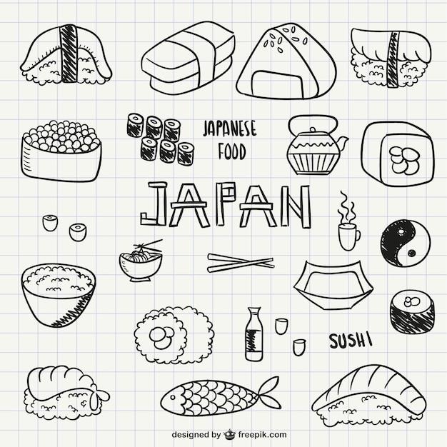 Sushi Y Comida Japonesa Vector Gratis