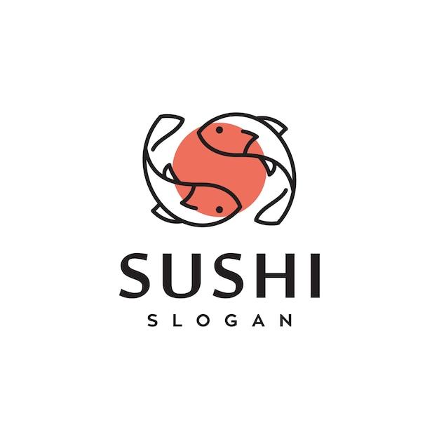Sushi pescado japonés comida tradicional vector logo design Vector Premium