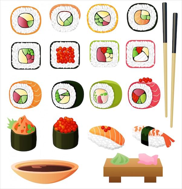 Sushi con salsa de soja y palillos. Vector Premium