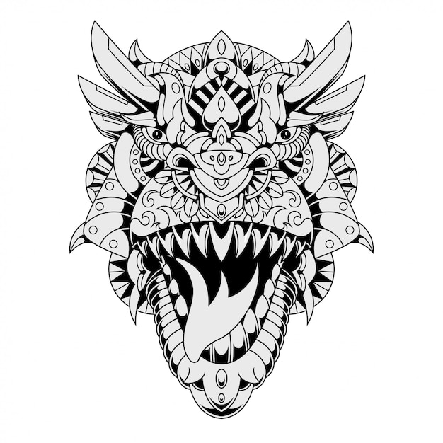 trex mandala zentangle ilustración en estilo lineal