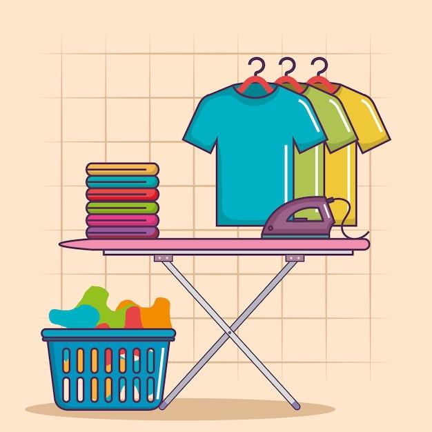 Tabla de planchar y cesta de ropa de servicio de limpieza de trabajo ...
