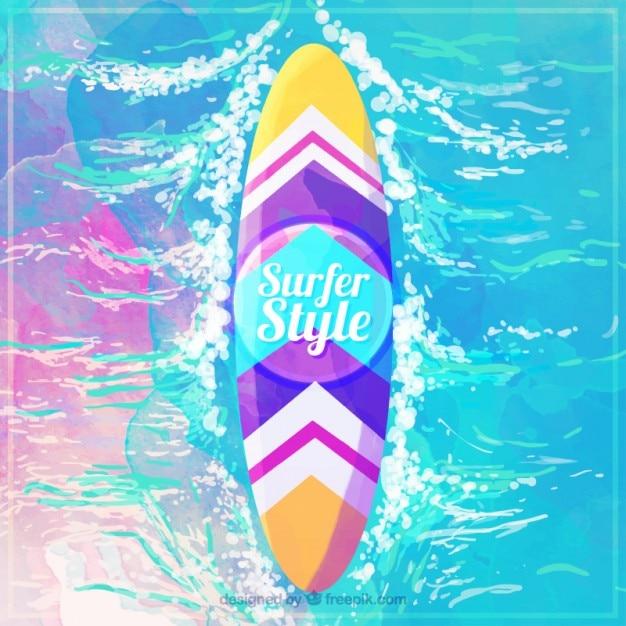 Tabla de surf de colores de acuarela en el mar descargar vectores gratis - Tavole da surf decathlon ...