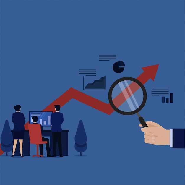 La tabla de monitoreo del equipo de negocios en la pantalla y el control manual aumentan la metáfora de analizar el progreso. Vector Premium
