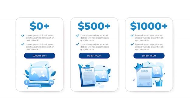 Tabla de plan de precios, cuadros comparativos con costo vector gratuito