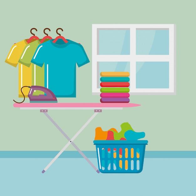 Tabla de planchar con iconos de servicio de lavandería vector gratuito