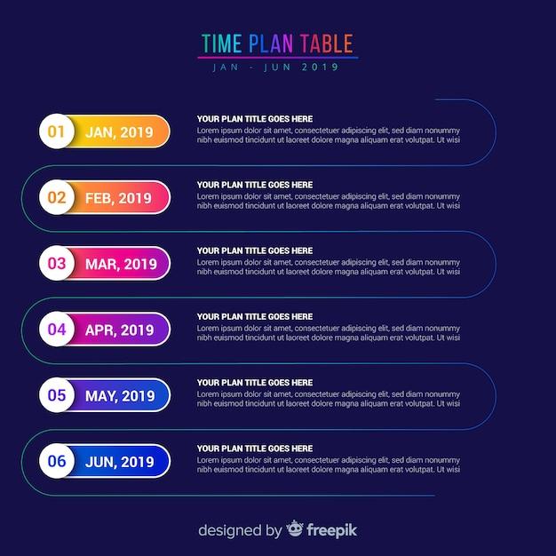 Tabla de planificación del tiempo vector gratuito
