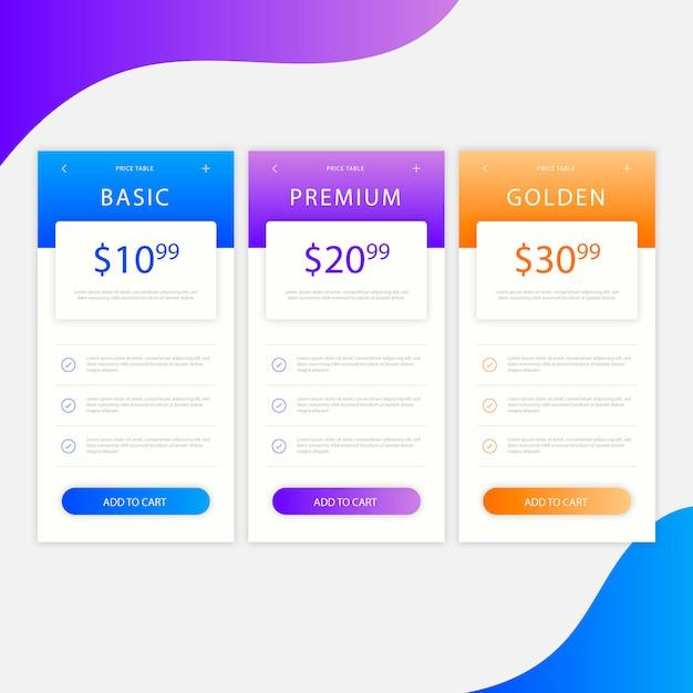 Tabla de precios moderna con opciones de árbol vector gratuito