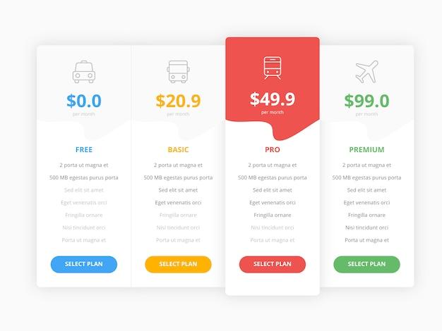 Tabla de precios web con cuatro plantillas de colección de opciones Vector Premium