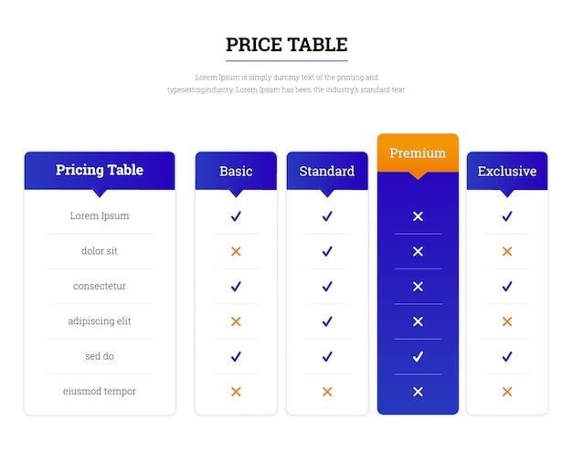 Tabla de precios web plantilla Vector Premium