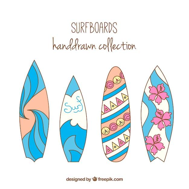 Tablas de surf dibujadas a mano con olas y flores - Dibujos para tablas de surf ...