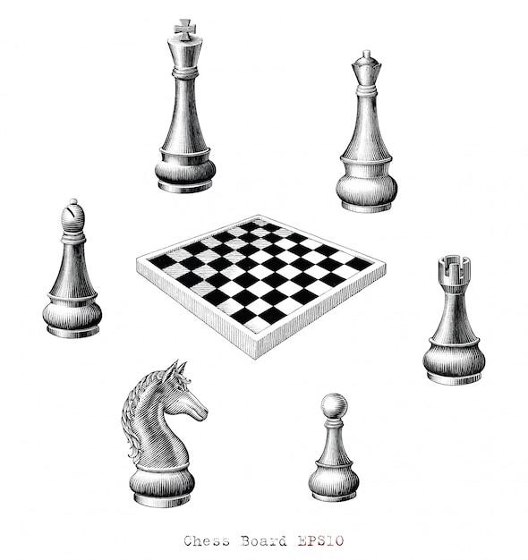 Tablero de ajedrez dibujo a mano estilo vintage en blanco y negro, aislado. Vector Premium