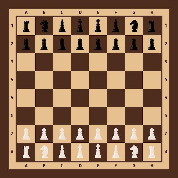 Tablero de ajedrez con piezas de ajedrez. Vector Premium