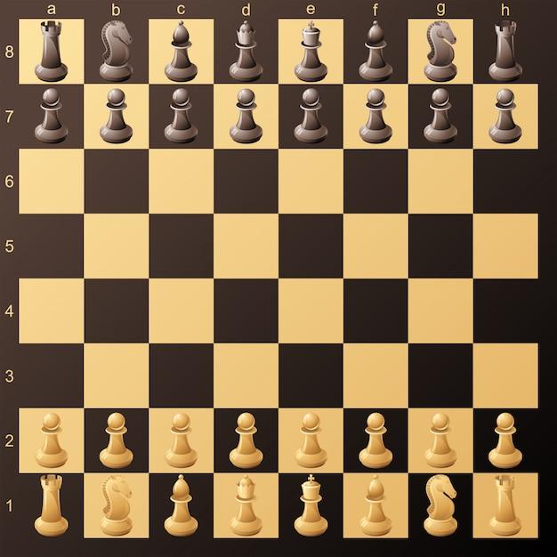 Tablero de ajedrez Vector Premium