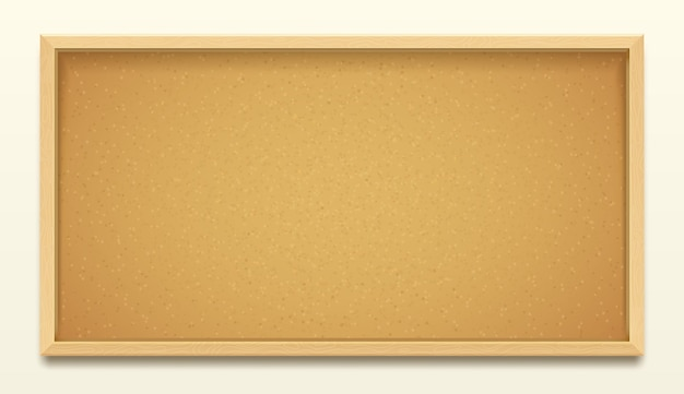 Tablero de corcho en el fondo del marco de madera, tablero de corcho realista o tablón de anuncios para memo de alfiler o chincheta. tablero de corcho de oficina o tablero de mensajes de la escuela para notas de boletines y publicaciones de tareas Vector Premium