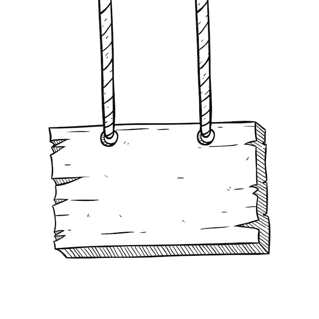 Tablero de madera colgante con estilo incompleto o doodle Vector Premium