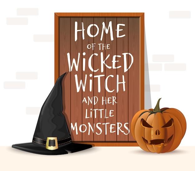 Tablero de madera de halloween. hogar de la malvada bruja y sus pequeños monstruos. víspera de todos los santos Vector Premium