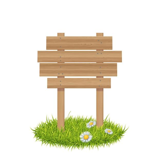 Tablero de madera en la hierba Vector Premium