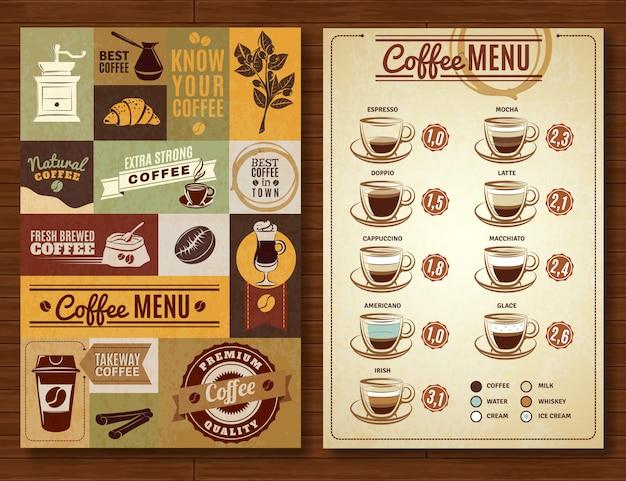Tablero de pancartas vintage coffee menu 2 vector gratuito