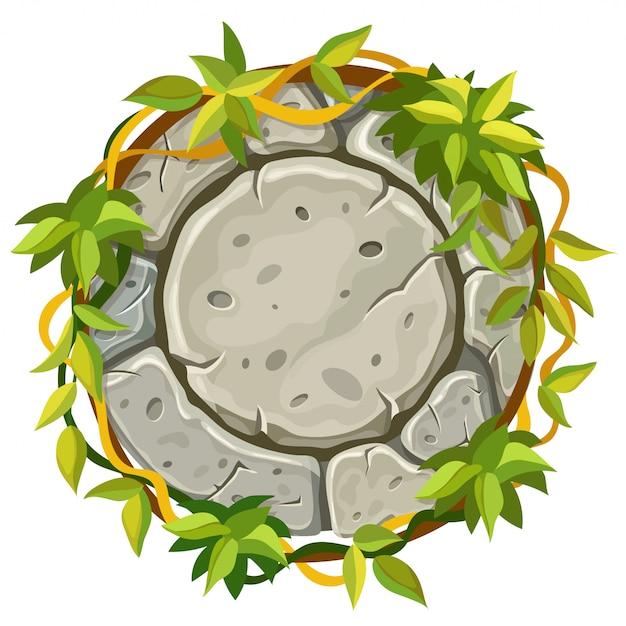 Tablero de piedra con ramas y hojas de liana. Vector Premium
