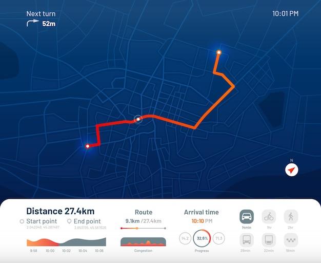 Tablero de ruta. navegación del mapa de calles de la ciudad, rutas de funcionamiento de la ciudad y ilustración plana de la aplicación de mapas de seguimiento gps Vector Premium