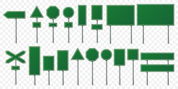 Tablero verde de la señal de tráfico, tableros de las señales de dirección en el soporte de metal, poste indicador vacío y conjunto aislado del letrero de dirección Vector Premium