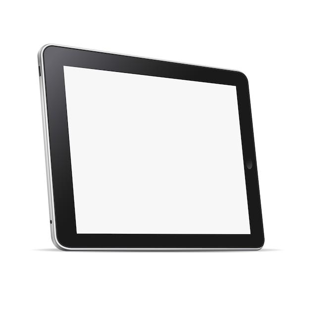 Tablet pc negro (pc) con pantalla en blanco aislado Vector Premium