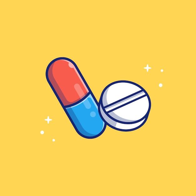 Tableta cápsula medicina icono ilustración. concepto de icono médico y sanitario aislado Vector Premium