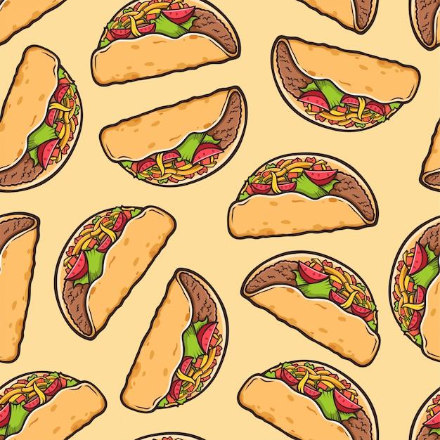 Taco de patrones sin fisuras. fondo de comida tradicional mexicana. Vector Premium