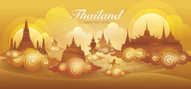 Tailandia increíble vector de oro, vector de arte tailandés gráfico Vector Premium