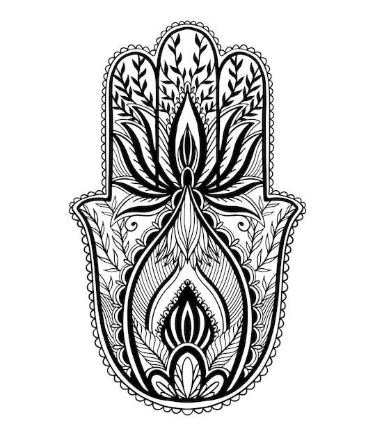 Talismán mágico hamsa religión asiática. gráfico de color negro sobre fondo blanco. motivo del tatuaje. Vector Premium