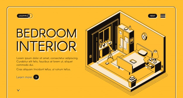 Taller de diseño de interiores, tienda de muebles en línea vector isométrico web banner o página de destino. vector gratuito