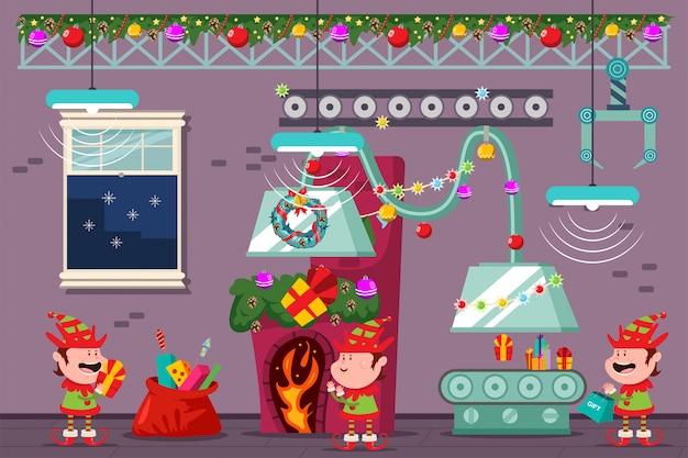 Taller de santa con divertidos duendes en la fábrica de navidad. vector ilustración de dibujos animados de vacaciones. Vector Premium