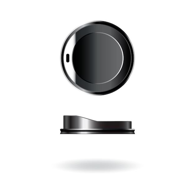 Tapa, tapa y plantilla de plástico negro para taza de café y té. Vector Premium