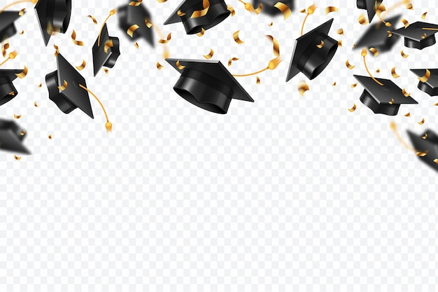 Tapas de graduación confeti. estudiantes volando sombreros con cintas doradas. universidad, formación universitaria Vector Premium