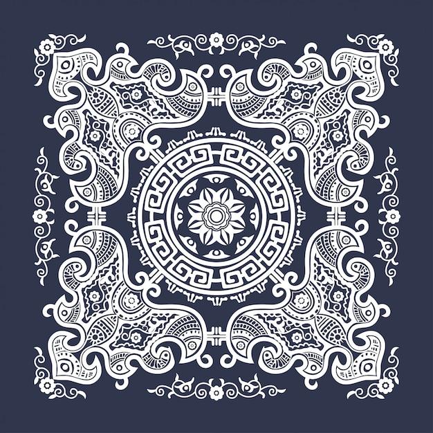 Tapices de formas geométricas tradicionales indias decorativas Vector Premium