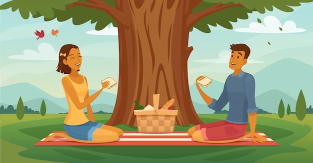 Tarde soleada picnic al aire libre juntos cartel retro de dibujos animados vector gratuito