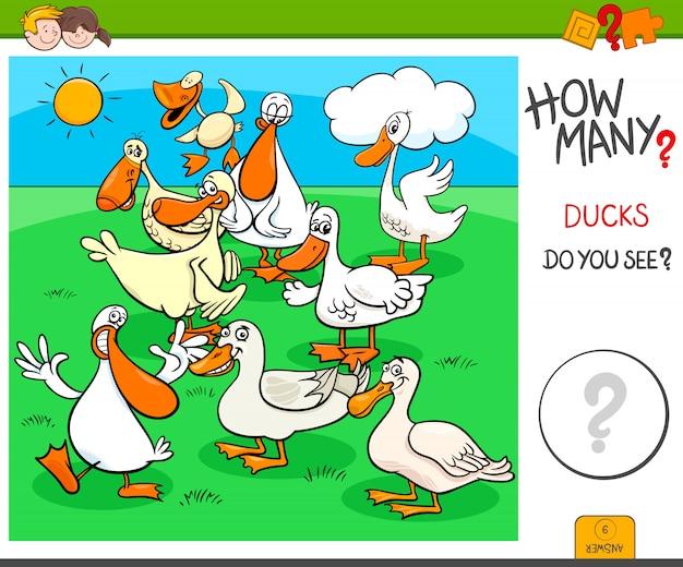 Tarea de conteo para niños con personajes de patos Vector Premium