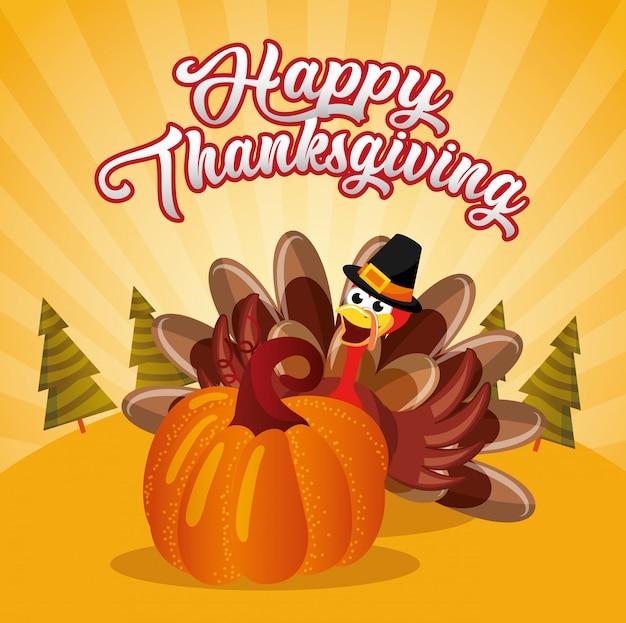 Tarjeta de acción de gracias con dibujos animados de pavo con pumpking Vector Premium