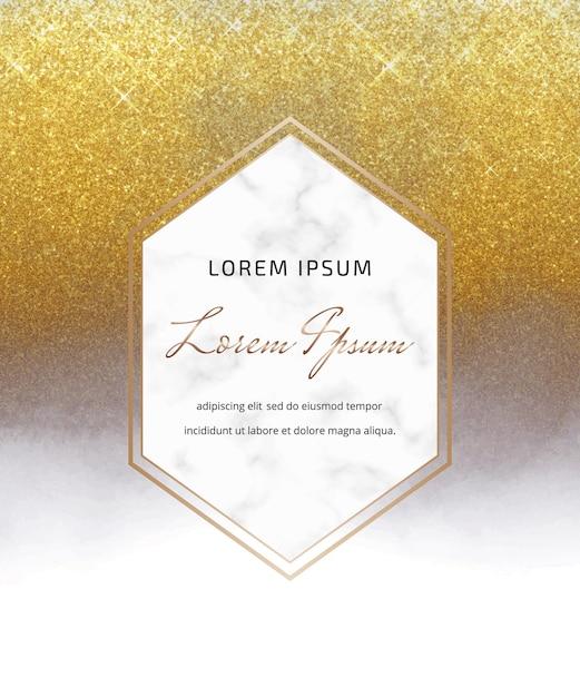 Tarjeta de acuarela de tinta de alcohol gris y brillo dorado con marco de mármol Vector Premium