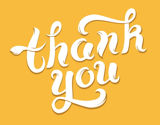 Tarjeta de agradecimiento en amarillo Vector Premium