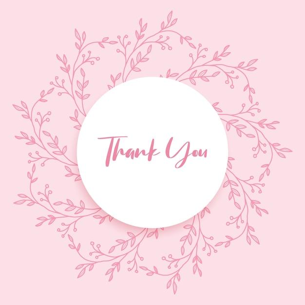 Tarjeta de agradecimiento floral dibujada a mano Vector Premium