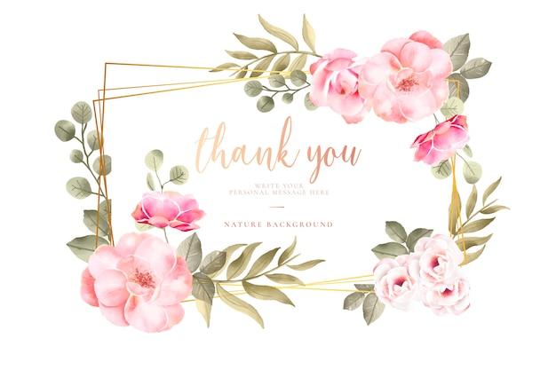 Tarjeta de agradecimiento con flores de acuarela vector gratuito