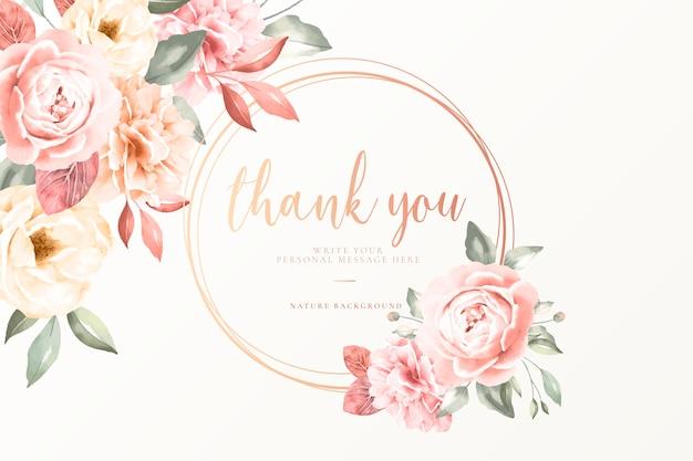 Tarjeta de agradecimiento con flores vintage vector gratuito
