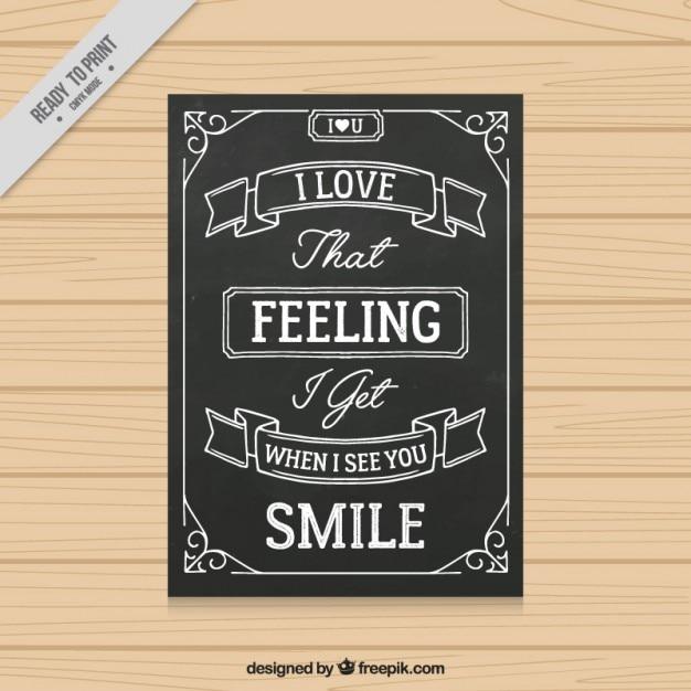 Tarjeta De Amor Con Una Frase Emotiva En Efecto Pizarra Descargar