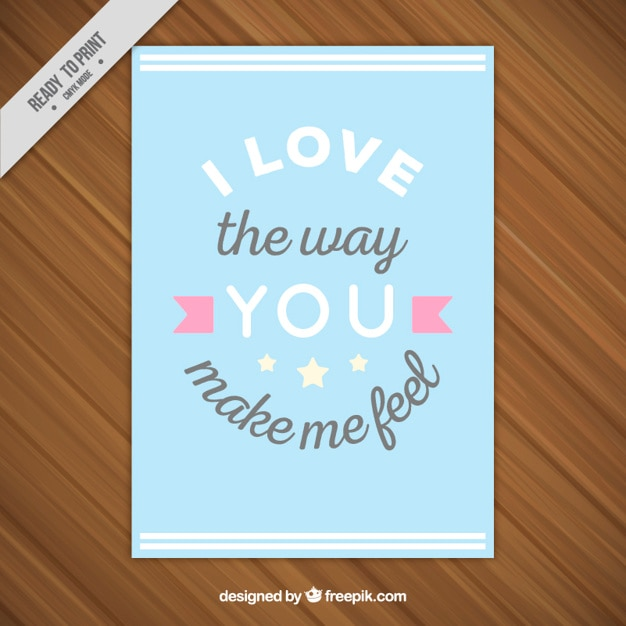 Tarjeta De Amor Con Frase Emotiva Descargar Vectores Gratis