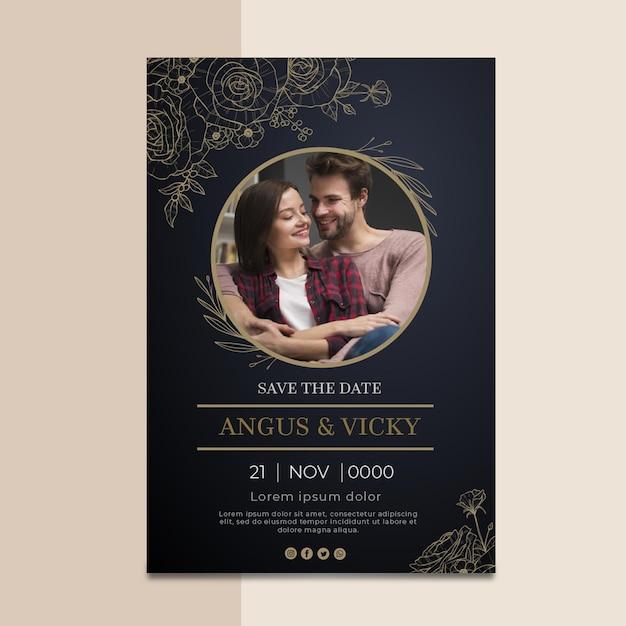 Tarjeta de aniversario de boda vector gratuito